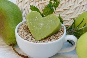 zeleni sapun u obliku srca